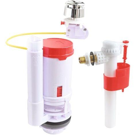 Pack mécanisme WC à câble double chasse + Robinet flotteur alimentation latérale