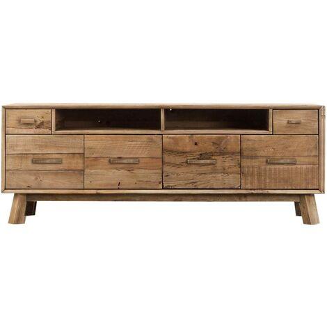 Meuble TV style brut bois recyclé 4 portes 180cm - Pin recyclé