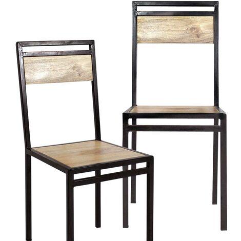 Lot de 2 chaises industrielles métal et bois de manguier - Bois clair