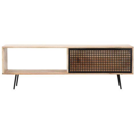 Meuble TV bois métal grillagé 1 niche 1 tiroir - Bois