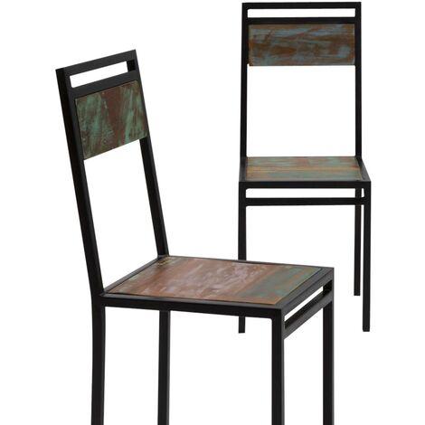 Lot de 2 chaises industrielles métal et bois coloré - Bois coloré