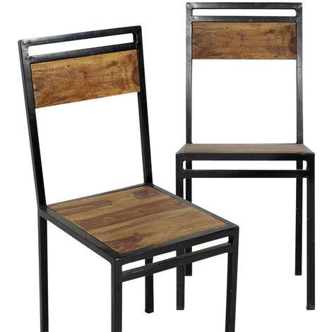 Lot de 2 chaises industrielles métal et bois d'acacia foncé - Bois foncé