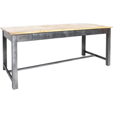 Table à manger bois et métal gris 4 tiroirs - Bois