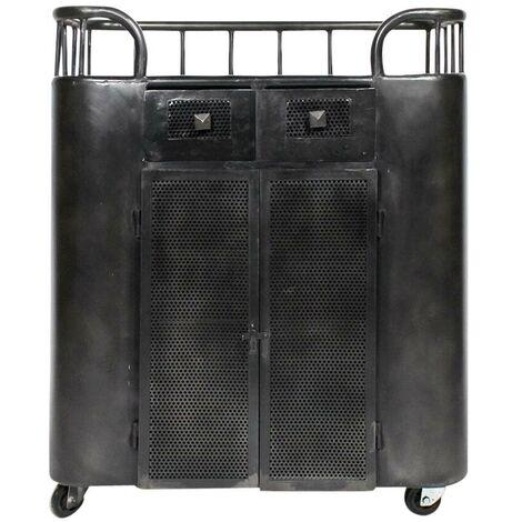 Comptoir à roulettes industriel métal noir - Noir