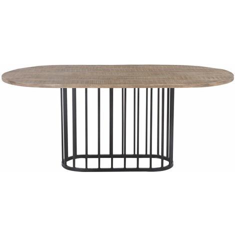Table à manger industrielle ovale - pied central design - Bois