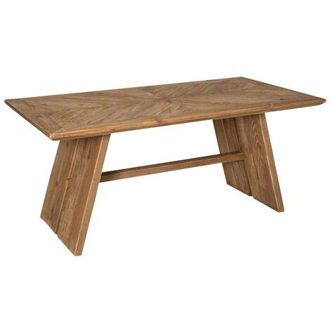 Table à manger motif chevron - style brut en bois recyclé - Pin recycl