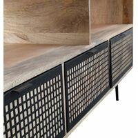 Meuble TV bois métal grillagé 3 tiroirs 2 niches - Bois