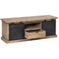 Meuble TV industriel 2 portes coulissantes en manguier brossé - 150 cm - Manguier