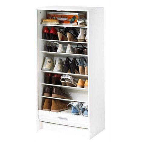 Meuble à Chaussures Blanc 7 Tablettes - Coloris: Mont Cervin 653