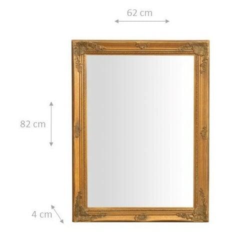 miroir mural a accrocher suspendu vertical horizontal l62xpr3xh82 cm finition or antique