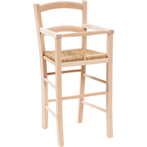 Chaise haute en bois pour table à manger restaurant pizzeria cuisine rustique pauvre art L43xPR43xH91 Cm Made In Italy