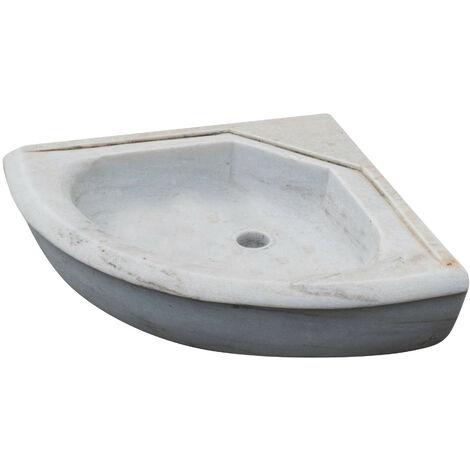 Évier d'angle en blanc en marbre L50xPR50xH15 cm