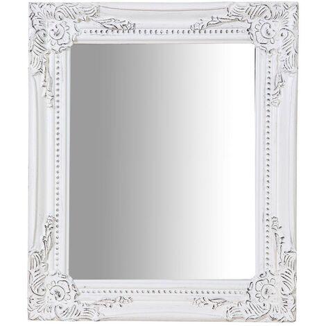 Miroir suspendu pour suspension verticale/horizontale L27xPR3xH32 cm blanc finition antique blanc