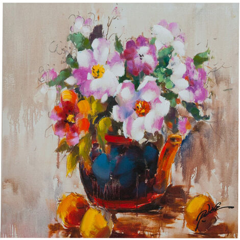 Peinture à l'huile sur toile realisé manuallement vaso fiori