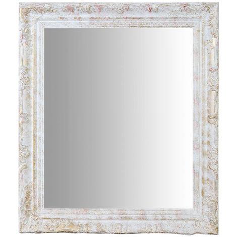 Espejo de pared de colgar de colgar vertical/horizontal 64x4x74 cm acabado con efecto plata envejecido