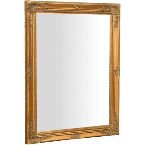 Espejo de pared de colgar de colgar vertical/horizontal 62x3x82 cm con efecto oro envejecido