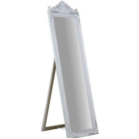 Espejo de pie (cm: 40 x 3 x 140), acabado en blanco envejecido