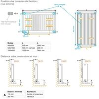 Radiateur chauffage central H2O DK11 Vertical Ardoise Blanche 621W VALDEROMA 01085011
