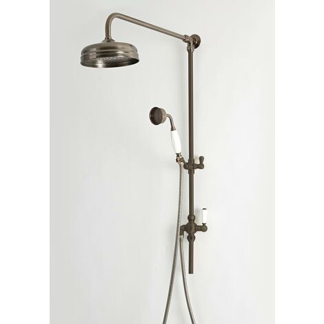 Hudson Reed Elizabeth - Colonne de douche rétro avec pommeau pluie fixe et douchette - Bronze huilé