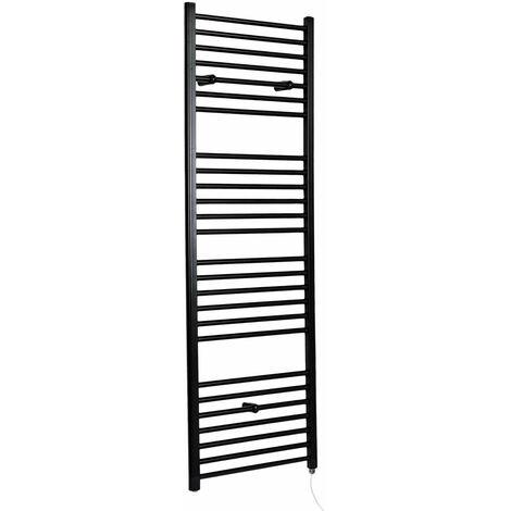 Hudson Reed Nox - Sèche-Serviettes Design Électrique Moderne Plat - Noir - 180 cm x 40 cm