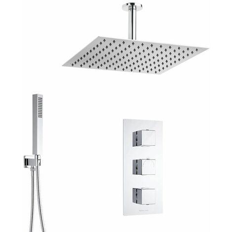 YUNRUX Kit de douche thermostatique avec pommeau de douche et douchette avec thermostat et colonne de douche r/églable