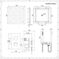 Hudson Reed - Kit de Douche Thermostatique à Encastrer avec Douchette et Pomme en Plafonnier 40 x 40CM - Design Cubique