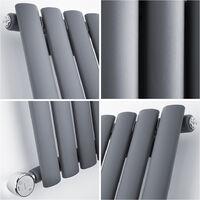 Hudson Reed Vitality Électrique – Radiateur Design Horizontal Colonnes Ovales – Anthracite – 63.5 x 82.6 cm