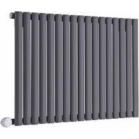 Hudson Reed Vitality Électrique – Radiateur Design Horizontal Colonnes Ovales – Anthracite – 63.5 x 100 cm