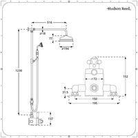 Hudson Reed Elizabeth - Colonne de douche rétro avec mitigeur thermostatique exposé rétro à double sorties, Pommeau pluie rond et Kit douchette - Or brossé