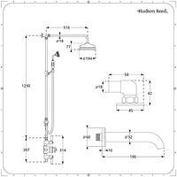 Hudson Reed Elizabeth - Colonne de douche rétro avec mitigeur thermostatique exposé rétro à triple sorties, Pommeau pluie rond, Kit douchette et Bec verseur baignoire mural - Chromé et Blanc