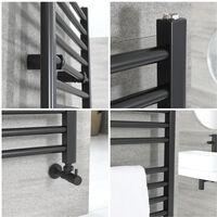Hudson Reed Artle - Sèche-Serviettes Design Moderne Noir - Plat 120 cm x 60 cm