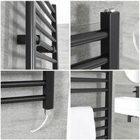 Hudson Reed Nox - Sèche-Serviettes Design Électrique Moderne Plat - Noir - 120 cm x 40 cm