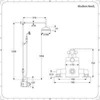 Hudson Reed Elizabeth - Colonne de douche rétro avec mitigeur thermostatique exposé rétro à double sorties, Pommeau pluie rond et Kit douchette - Chromé et blanc