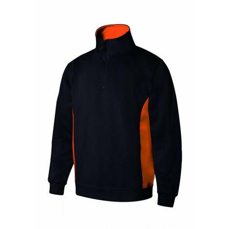 Sudadera bicolor con media cremallera V105704 | XL - Negro/Naranja