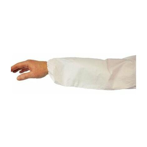 Manguito en polipropileno laminado polietileno puño elástico blanco (50 manguitos)