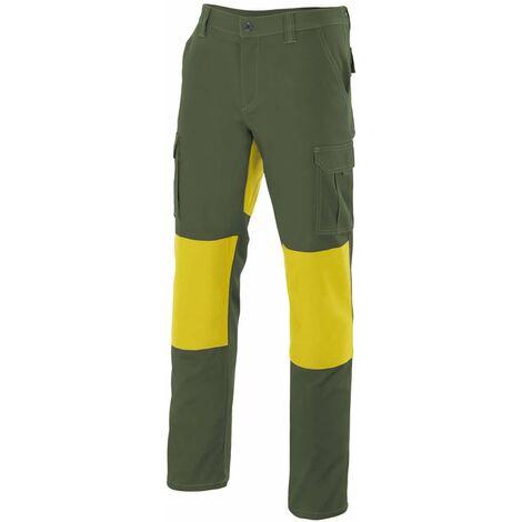 Pantalón verde caza multibolsillos con refuerzos Serie R103001 | 60 - Verde caza / Amarillo