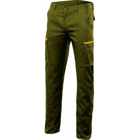 Pantalón verde caza stretch multibolsillos Serie P103002S | 60 - Verde caza / Amarillo