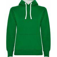 Sudadera entallada de corte femenino con capucha URBAN WOMAN SU1068   XXL - Verde Kelly/Blanco