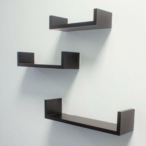 At Home Comforts Set of 3 Black Floating Shelves