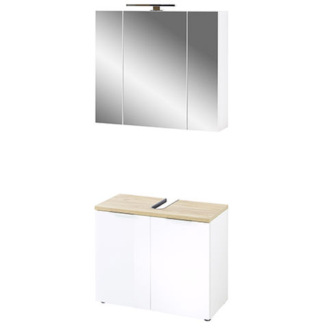 Ensemble de salle de bain coloris imitation blanc /chêne de Navarre -PEGANE-