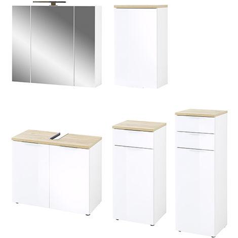 Ensemble de salle de bain avec 5 pièces coloris imitation blanc /chene de Navarre -PEGANE-