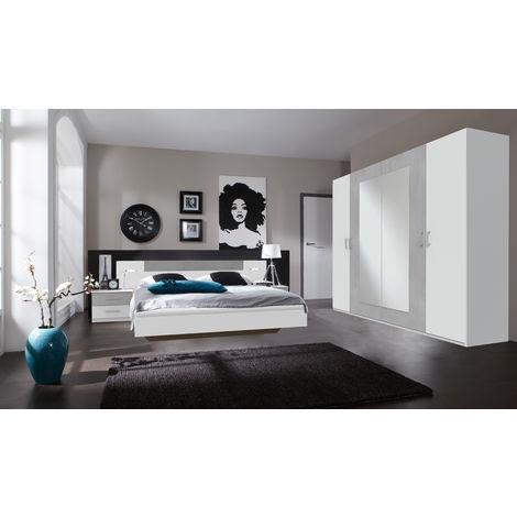 Ensemble chambre adulte en Blanc, rechampis teinte béton gris clair - 160 x 200 cm -PEGANE-