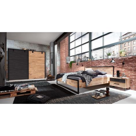 Ensemble chambre adulte complète Imitation chêne poutre , rechampis raw steel - 180 x 200 cm -PEGANE-