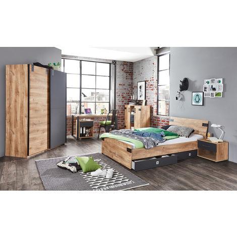 Ensemble chambre enfant/adolescent complète Imitation chêne poutre, rechampis graphite - 90 x 200 cm -PEGANE-