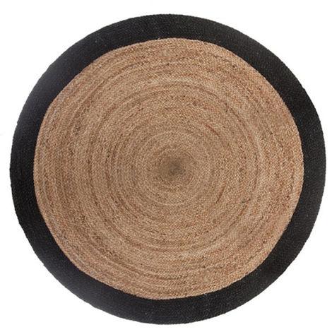 Tapis rond en jute naturel et noir - Diamètre : 120 cm -PEGANE-