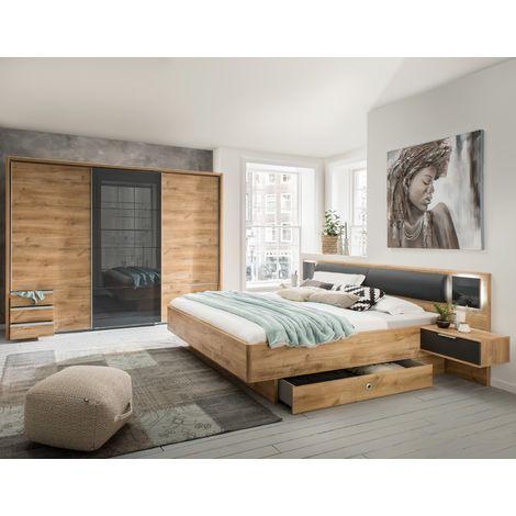Ensemble chambre adulte complète Imitation chêne poutre - 180 x 200 cm -PEGANE-