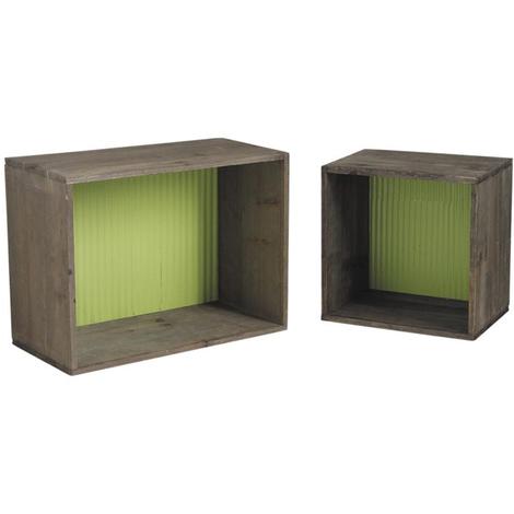 Lot de 2 étagères en bois et zinc, coloris assortis