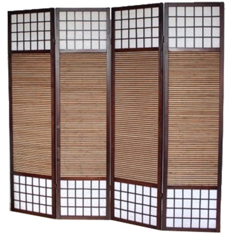 Paravent bois et bambou brun Hauteur 2 m - 4 pans