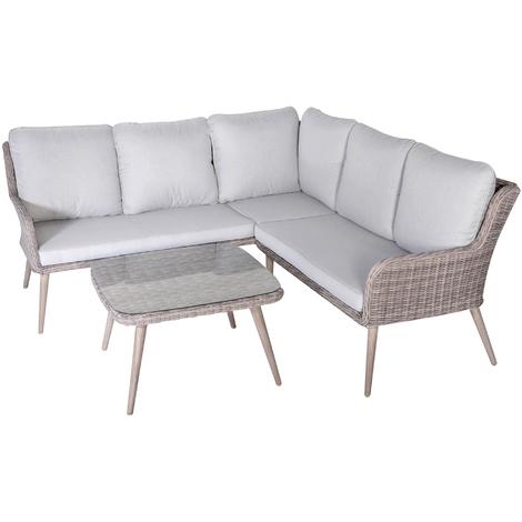 Salon de jardin angle de 3 pièces en résine tressé / Aluminium