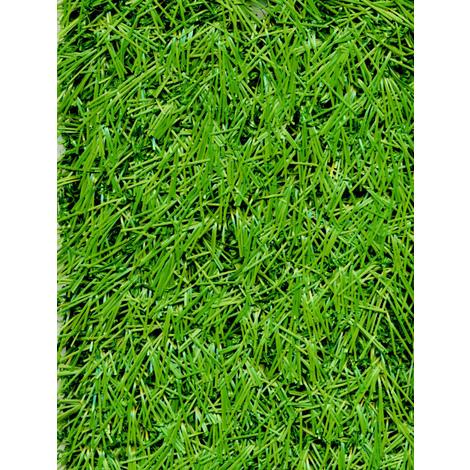 Rouleau gazon artificiel d'extérieur en 100 % polypropylène coloris vert - Dim : 4m x 25m- PEGANE -